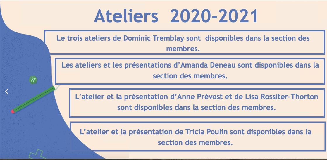 Ateliers mai 2021